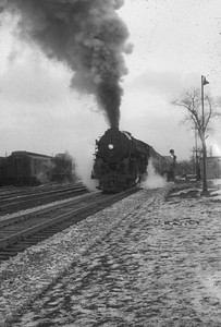 2016.020.20.03--jim neubauer 35mm monochrome slide--NYC--steam locomotive 4-6-4 J3a 5440 on 14-car Commodore Vanderbuilt passenger train action--location unknown--1953 0118