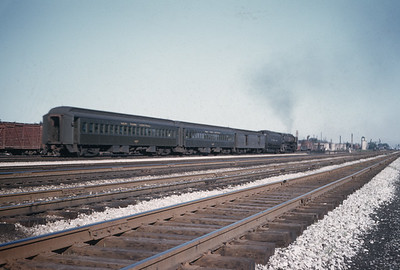 2016.020.20.12--jim neubauer 35mm kodachrome--NYC--steam locomotive 4-8-4 S1b 6016 on Elkhart local passenger train--Englewood IL--1955 0530