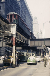 2016.020.16.01--neubauer 35mm kodachrome--CNS&M--electric interurban passenger train on the loop at Wabash Ave--Chicago IL--1957 0000