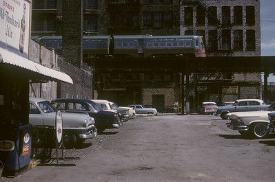 2016.020.16.02--neubauer 35mm kodachrome--CNS&M--Electroliner interurban on elevated track at 14th Street--Chicago IL--1958 0900