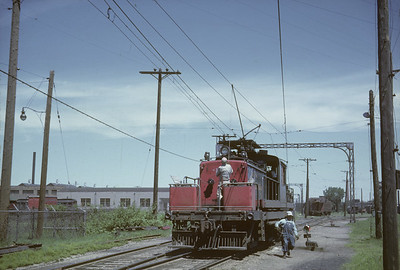 2016.020.16.04--neubauer 35mm kodachrome--CNS&M--electric locomotive in yard--North Chicago IL--1962 0500