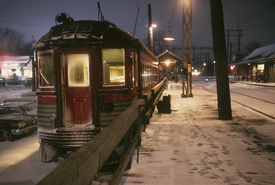 2016.020.16.16--neubauer 35mm kodachrome--CNS&M--electric Silverliner interurban night scene at Edison Court--Waukegan IL--1963 0000