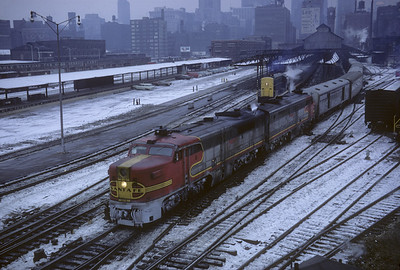 2016.020.07.09--jim neubauer 35mm kodachrome--AT&SF--ALCO diesel locomotive on Grand Canyon Ltd passenger train departing Dearborn Station scene--Chicago IL--1967 1230