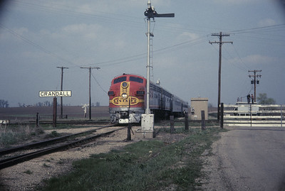 2016.020.07.19--jim neubauer 35mm ektachrome--AT&SF--EMD diesel locomotive 308 on RR Club of Chicago Chico Chief passenger train fantrip--Crandall IL--1969 0400