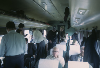 2016.020.07.14--jim neubauer 35mm kodachrome--AT&SF--coach interior on RR Club of Chicago Chico Chief passenger train fantrip--location unknown--1969 0400