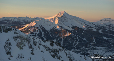 Big Sky / Lone Peak / Moonlight Basin at sunrise - Aerial Photo