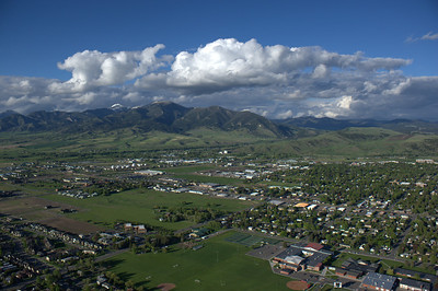Aerial View Of Bozeman and the Bridger Mountains