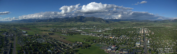 Aerial Panoramic Of Bozeman and the Bridger Mountains - 19th & Main Streets