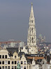 The Brussels Town Hall tower and in the background is the Basilica of the Sacred Heart of Koekelberg.