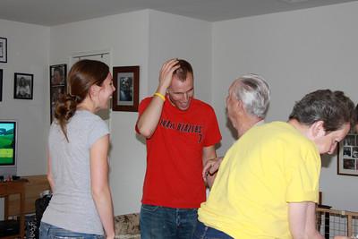 Grandpa likes Dustin's hair!