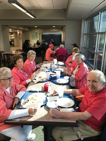 The Henry County Medical Center [HCMC] volunteers ('Pink Ladies'] enjoying a free lunch at the HCMC cafeteria. Mary Lacey is a Tuesday volunteer and I usually join then for a (paid) salad bar lunch
