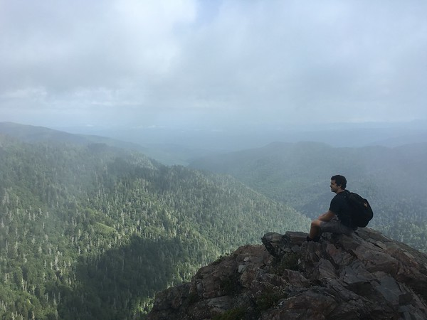Grandson Randy Lacey at the end of the Charlies Bunion hike, just off the Appalachian Trail and 4 miles from Newfound Gap in the Great Smoky Mountains - 2016.