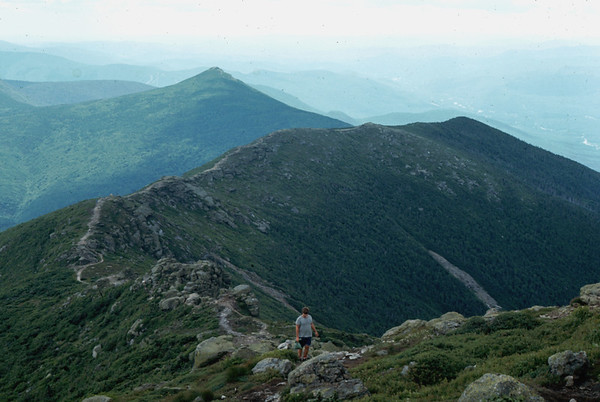 Hiking the Franconia Ridge Train. The high White Mountains (The Presidential Range) are connected by ridge trails affording an easy path to Mt. Washington.