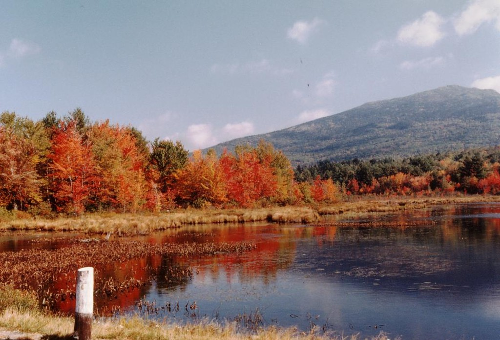 Mt. Monadnock from Perkins Pond in Jaffrey NH. Several times in varying seasons I have stopped here to view the 'most climbed mountain in the world'.