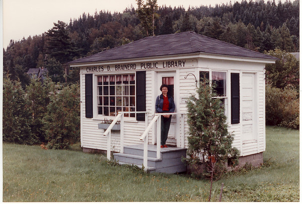 The Charles D. Brainerd Public Library in West Danville VT.  Hours by appointment. Inquire for key at Hastings Store. Mary (at door) came upon this remarkable library quite by accident.