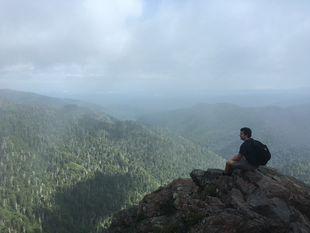 Grandson Randy Lacey at the end of the Charlies Bunion hike, just off the Appalachian Trail and 4 miles from Newfound Gap in the Great Smoky Mountains.