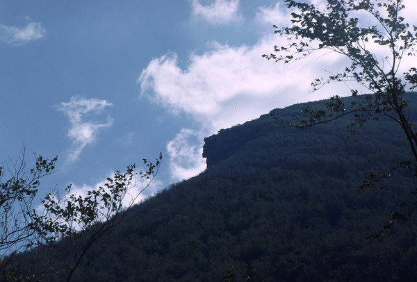 The 'Old Man of the Mountain' - a rock formation on Cannon Mt. in Franconia Notch NH. Frequently photographed as an icon of the area, the early morning of  May 3, 2003 saw this White Mountains structure collapse after years of repair.