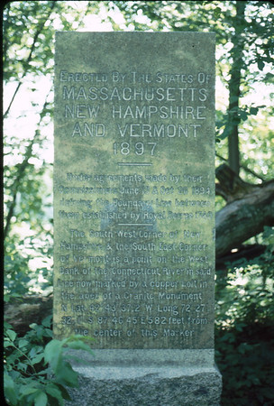 This monument was erected in Northfield MA to describe and give directions to the common meeting of Vermont, Massachusetts and New Hampshire which is actually in the Connecticut River.
