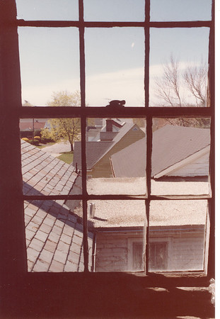 A view of from the attic at the Lacey family home of neighboring homes and Litchfield Avenue in Southbridge MA. This was the 3rd floor (4th including full basement) - the 3 closest connected buildings are part of my home.