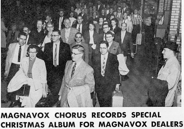 Having won 1st prize in Chicago Festival, the Magnavox Chorus (With me second row at left)  heads for New York City in the late 1950's, on the Broadway Limited train, and to the Webster Hall Studios of RCA to record a Christmas LP for distribution with Magnavox audio systems . We all stayed at the Waldorf Astoria in Manhattan. Oscar Albers, Chorus director - in front row with coat on left arm, died in January 2014 at the remarkable age of 98.