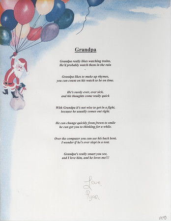 This poem, created by my Granddaughter Ryan [Lacey] Hampstead is one of the treasures of my life.