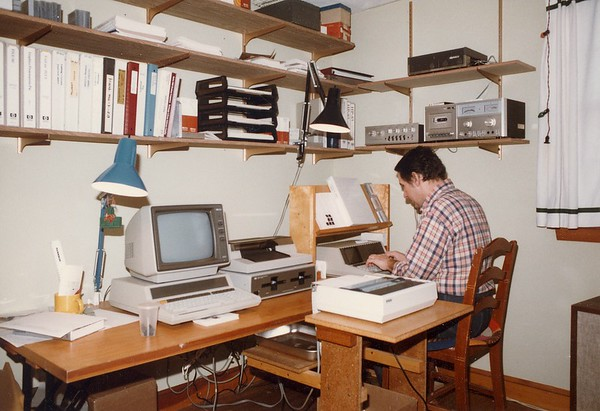 Here, I am using HP series 80 computers, floppy disk drives and an early Epson printer in my JAMAR Associates database design work. I got started in this work after I demonstrated a Quality Control chart program at an HP trade show. Hp was excited about selling the program and I was able to pay for all my computer equipment from the sales.