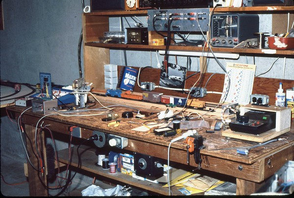 The Westford MA workbench was frequently used for various electronic projects.