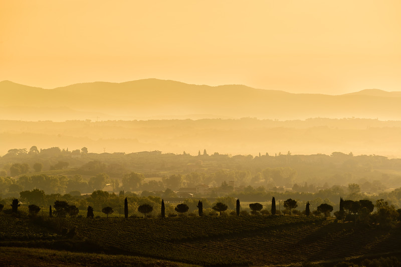 Sunrise over the Tuscan landscape.