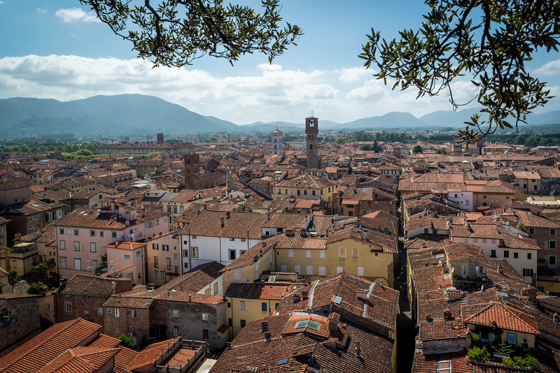 The beautiful walled town of Lucca in Tuscany.