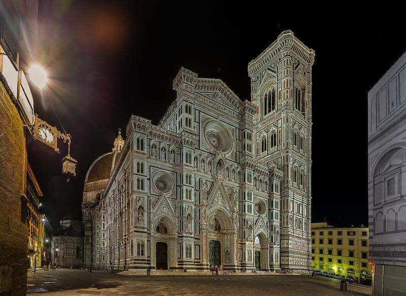 The Duomo at night.