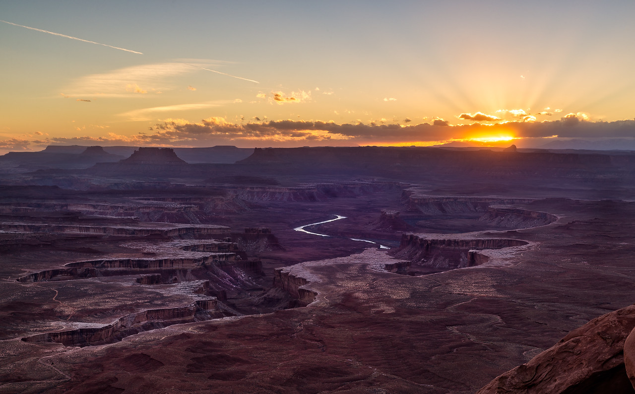 View of sunset and the Green River from the Island In The Sky at Canyonlands National Park