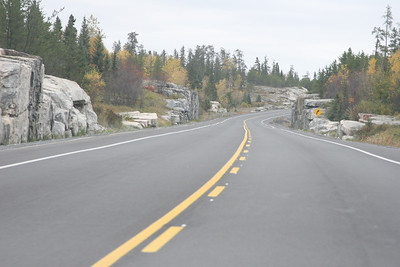 Classic drive through the Canadian Shield.  Well-paved roads, two lanes, and not a car to be seen.