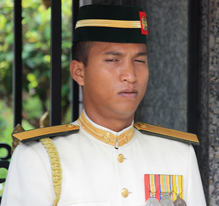 KL Malaysia Royal Guard Tired of Tourists