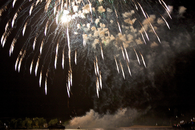Fireworks over the St Criox River Hudson Wisconsin.