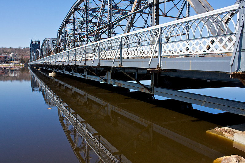 The water in the Mississippi is so high it won't let the St. Criox in fast enough and so it backs up for miles.