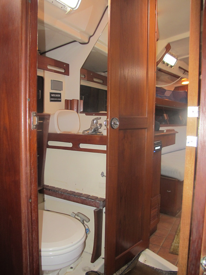 View from aft cabin thru head with shower to main cabin