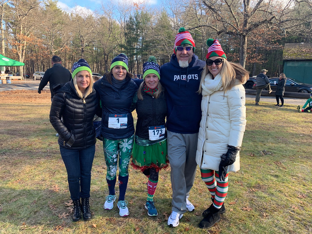 . These Legs Get Legs Committee, from left, Karen Roderick of Tyngsboro, Carmen Acabbo and Karen Morgan, both of Westford, 50 Legs founder Steve Chamberland of Tampa, Fla., and 50 Legs Fundraising Coordinator /Director Tiffiny Willis of Lithia, Fla.