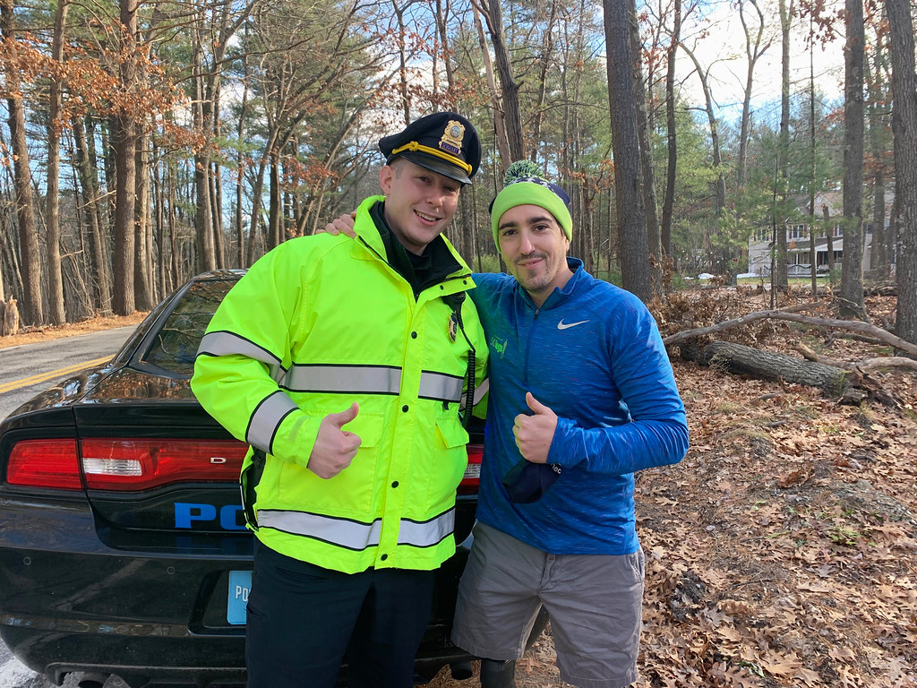 . Westford Sgt. Mike Breault of Westford and race starter Jeff Bauman of Carlisle, a Boston Marathon bombing survivor and true American hero