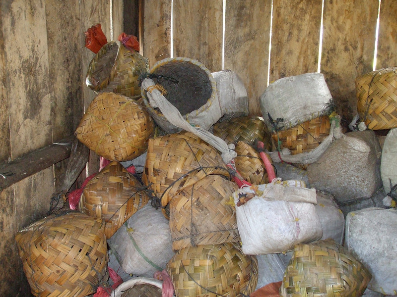Baskets used when coffee picked. Worn around the waist of the person picking. Paid by the basket.