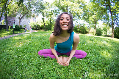 Ximena Savitch in Baddha Konasana (bound angle pose) in Central Park, NYC