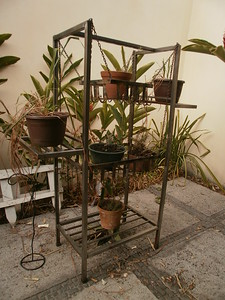 Funky metal Bakers Rack Plant stand (or fix it up for in the kitchen) - $150