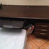 Brown DESK with Keyboard pullout with 4 thin drawers