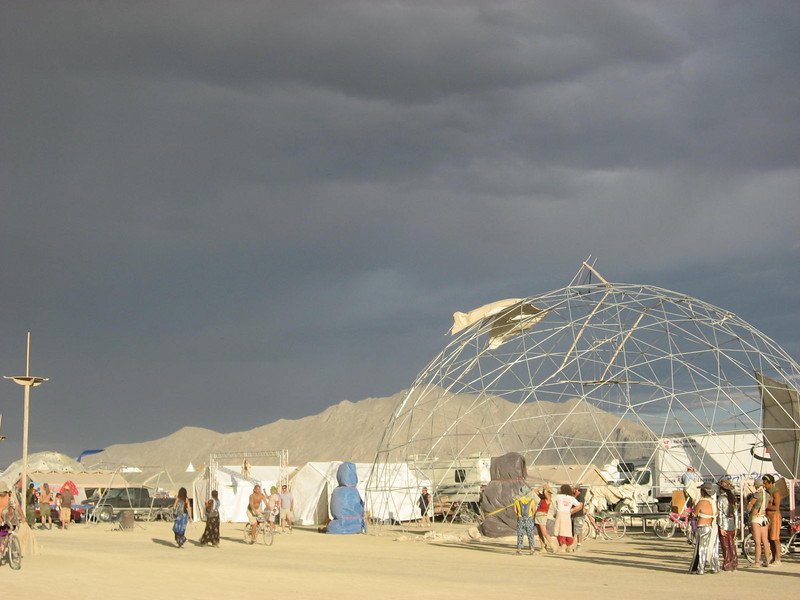 Dome that had its cover blown off in the dust storm