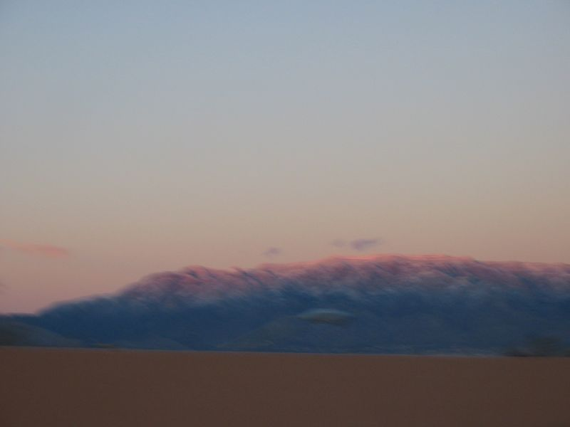 Sandia Peak at sunset, behind Albuquerque