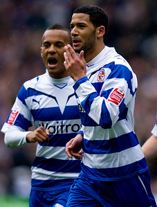 READING, ENGLAND - MAY 2: Jobi McAnuff of Reading FC celebrates scoring Reading's second goal of the game during the Coca Cola Championship match between Reading FC and Preston North End FC at The Madejski Stadium on May 2, 2010 in Reading, England. (Photo by Ben Hoskins/Reading FC)