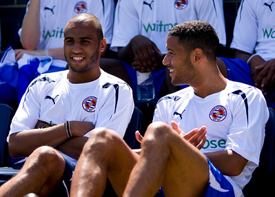 FARNBOROUGH, ENGLAND- JULY 10: Marcus Willams of Reading FC (L) talks with Jobi McAnuff of Reading FC (R) prior to a pre-season match against Farnborough FC at The Rushmoor Stadium on July 10, 2010. (Photo by Ben Hoskins/ Reading FC)