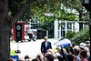 Former Vice President Joe Biden arrives in front of a crowd of about 400 on Appian Way at Keene State College on Saturday, August 24; KELLY FLETCHER, REFORMER CORRESPONDENT