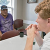 Joe Kennedy III visited Our Father's House in Fitchburg on Saturday afternoon, September 21, 2019. Kennedy listens to resident of Our Father's House Wayne during his visit. SENTINEL & ENTERPRISE/JOHN LOVE