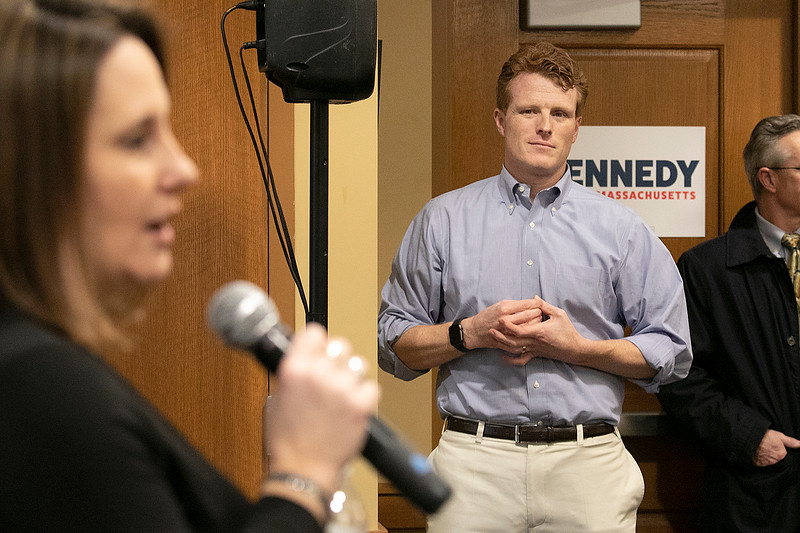 Joe Kennedy III held a town hall meeting at Leominster Public Library Saturday, Jan. 25, 2020. Kennedy Listens as he is introduced by  Commissioner of the Cannabis Control Commission Jennifer Flanagan from Leominster and fomer State Rep. SENTINEL & ENTERPRISE/JOHN LOVE