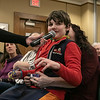 Joe Kennedy III held a town hall meeting at Leominster Public Library Saturday, Jan. 25, 2020. Eric Stassen, 11, from Leominster asks a Kennedy about the environment and what he is going to do about it while sitting in his mom Natalie Stassen's lap. SENTINEL & ENTERPRISE/JOHN LOVE